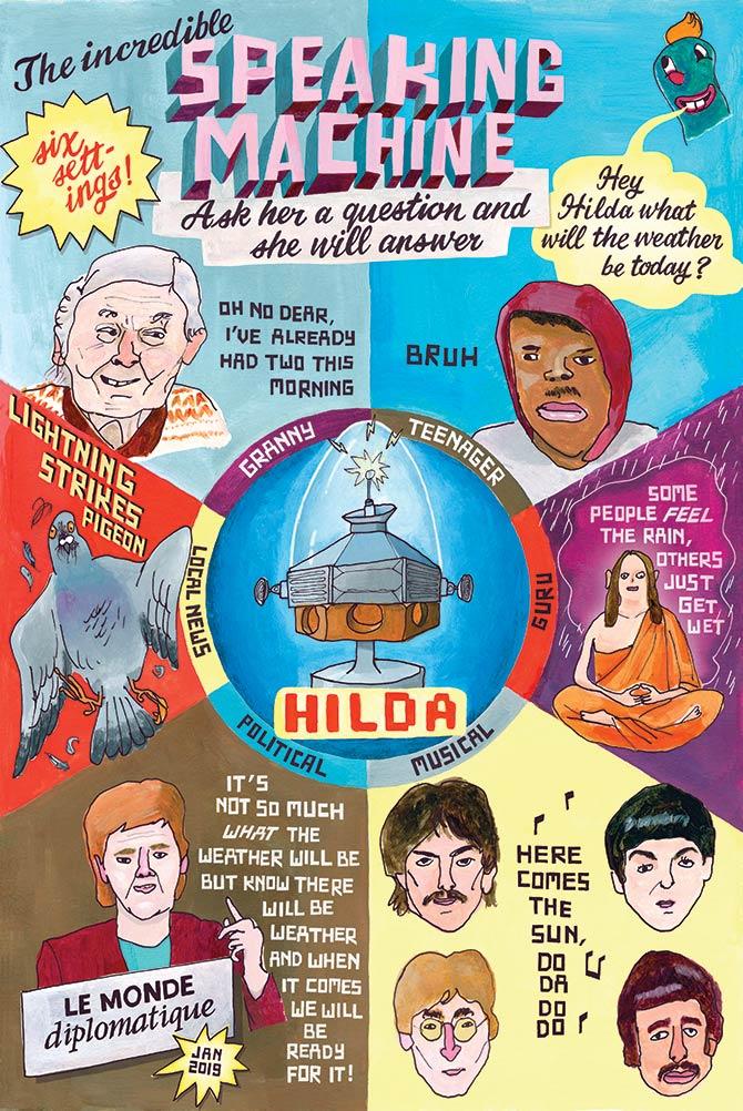 Alexa, Hilda, voice-activated technology, speaking machine, Le Monde Diplomatique, Beetles Here-comes-the-sun, guru, spiritual, teenager, granny, illustration, illustrator, London